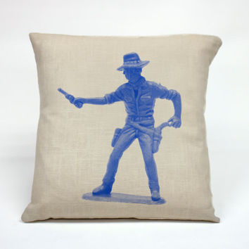 """Graphic Pillow Handcrafted Toy Cowboy size 16 x 16"""" Without Insert"""