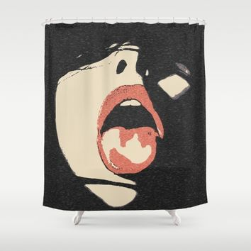 Good girl waits for her dose, submission pop art, sexy lips, erotic, seducing, sensual sketch Shower Curtain by Peter Reiss