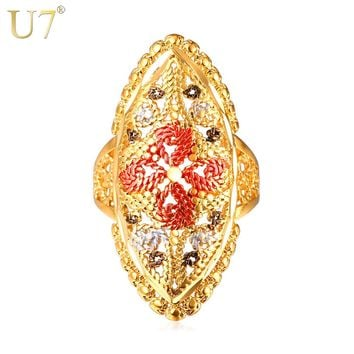U7 Vintage Hollow Flower Punk Ring Gold Color Trendy Wedding Bands Ring For Women Party Jewelry R365