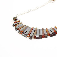 Fan Necklace, Egyptian Style, Statement Necklace, Jasper Jewellery, Sterling Silver