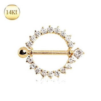 14Kt Yellow Gold Nipple Ring with Round CZ