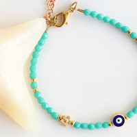Evil eye bracelet turquoise czech crystals and gold plated heart flower valentine gift for her best friend birthday
