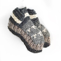 Kids' Grey Hand Knit Wool Tibetan Socks
