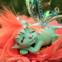 FREE SHIPPING OOAK art doll miniature fairy fae troll gnom Minty sleeping on a flower love gift present