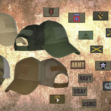 """Tactical 556 BLACK Mesh-Back """"You Pick"""" Hat-Patch Combo"""