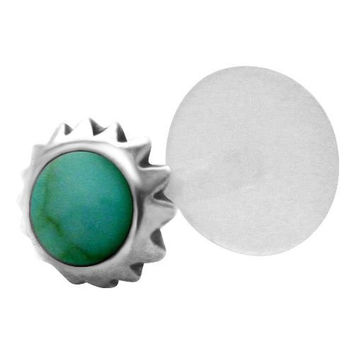 Green Mayan Tribal Sun 925 Sterling Silver Bioplastic Tragus Earring or Labret Lip Stud