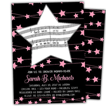 Twinkle Twinkle Little Star Invitations - Loved You Are Baby Shower Invite - Pink Star Girl Baby Shower Invitation - Printed - Black Pink