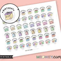 Birthday Stickers Kawaii Present Gift Bag Balloons Decorative Planner Printables INSTANT DOWNLOAD Cute DIY Reminders Party Gifts Multicolor