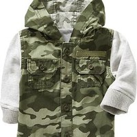 Hooded Camo Shirt-Jackets for Baby