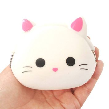 White Kitty Cat Face Shaped Mimi Pochi Animal Friends Silicone Clasp Coin Purse Pouch