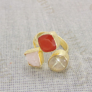 Yellow Gold Plated Ring - Red Carnelian Ring - Adjustable Ring - Rutile Quartz Ring - Rose Quartz Ring - Women Wedding Gift - Gift For Her