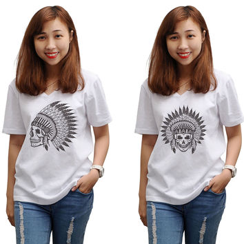 Women Skull wear indian headdress Printed T-shirt WTS_16