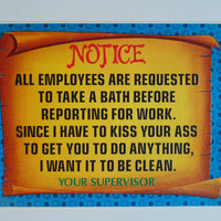 Vintage Notice to Employees 6 x 9 cardboard novelty sign 60's United Card Company Smile Plaque