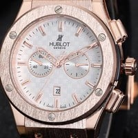 Hublot two frosted watches F-PS-XSDZBSH Gold case + white dial