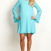 Aqua-Chiffon-Bell-Sleeve-Dress