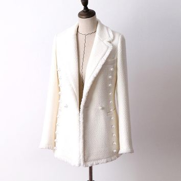 Trendy White wool tweed jacket Double-breasted pearl Buckle autumn and winter women's jacket new fashion lapel ladies jacket AT_94_13
