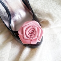 Handmade rose satin shoes clips in dusty pink wedding prom