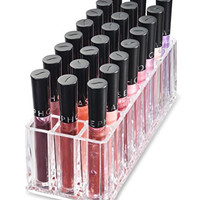 Acrylic Lip Gloss Organizer and Beauty Care Organizer - 24 Space Storage byAlegoryTM (Clear)