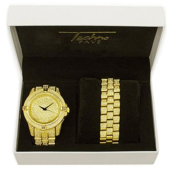 Jewelry Kay style Men's Iced Out 14k Gold / Silver Plated Heavy Bezel Watch & Bracelet Set 7754