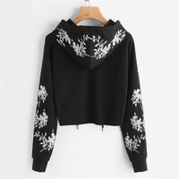 Black Cropped and Embroidered Pullover Hoodie