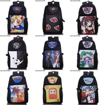 Anime Miku/Monokuma/One Piece/Naruto/Date A Live/Fairy Tail etc Laptop Backpack/Double-Shoulder/School/Travel Bag for Teenagers