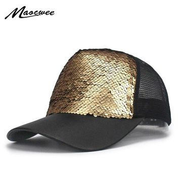 Luxury Sequins Paillette Bling Shinning Summer Mesh PU Baseball caps Gorras Women Girl Sun Hats For Party Club Gathering Bones
