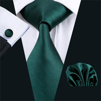 Men Necktie Green Solid 100% Silk Jacquard Tie Hank Cuff links Set Business Wedding Party Ties For Men