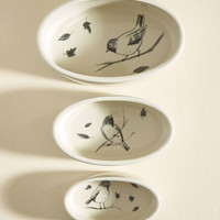 Feather Have I Ever Nesting Bowl Set in Birds | Mod Retro Vintage Kitchen | ModCloth.com