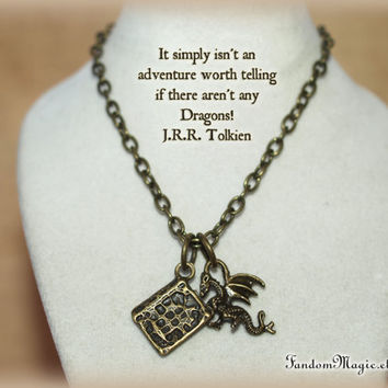 J.R.R. Tolkien Book and Dragon Charms Bronze Necklace, Fantasy Writer, Dragons, Smaug, Middle Earth, Hobbit, Lord of the Ring