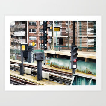Railway station and semaphore Art Print by lanjee
