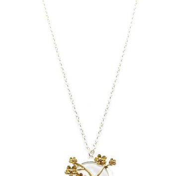 Gold Cherry Blossom Two Tone Metal Pendant Necklace