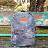 Blue recycled jeans backpack -  denim - college backpack