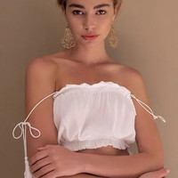 Fashion ruffles tube tops cropped summer women camis tassel strap tie sexy ladies camisole tanks wh