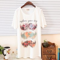 Spring Floral Mustaches Print Brighten Your Day Tee Multiple Colors