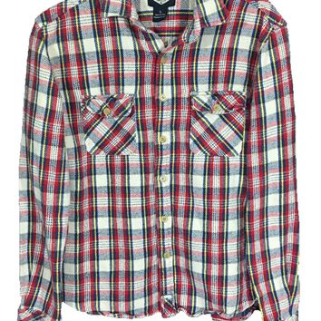 Salt Valley Plaid Flannel Button Down Shirt Red Yellow Blue Pockets Mens Small - Preowned