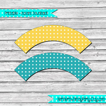 Gold and Teal Polka Dot Printable Cupcake Wrapper Set –  DIY printable party supplies – birthdays & showers - INSTANT DOWNLOAD