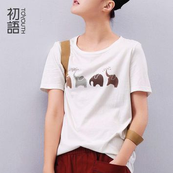 Toyouth Summer Women Elephant Animal Printed Loose Short Sleeve T Shirt Harajuku Style Casual T Shirt Girl Casual Tops