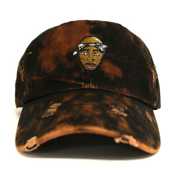 2Pac Vintage Bleach Distressed Dad Hat - 2 Left!
