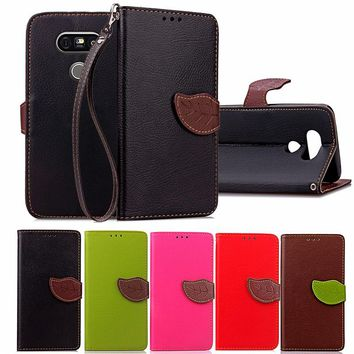 For LG G4 G5 Luxury Leather Cover Flip Wallet Phone Case For LG G4Beat With Leaves Buckle And Lanyard Mobile Phone Shell