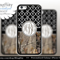 Monogram Iphone 5C case Browning iPhone 5s iPhone 4 case Ipod 4 5 Touch case Real Tree Camo Black Quatrefoil Personalized Country Girl