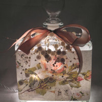 Peach Rose Collage Perfume Bottle Nightlight ( Night Light )