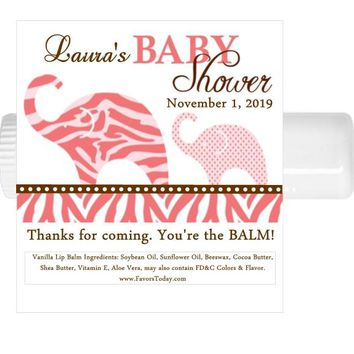 15 Elephant Safari Lip Balm Baby Shower and Birthday Party Chap Stick Favors