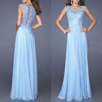 Elegant Lady Chiffon Maxi Dress Lace Prom Gown Bridesmaid Dress Slim Light Blue Lovely Style Dress