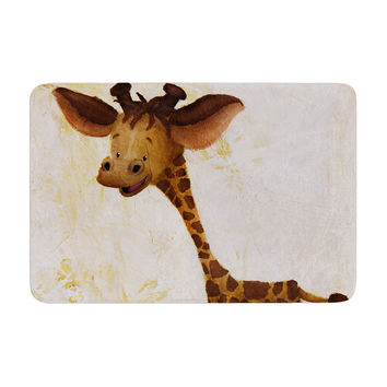 "Rachel Kokko ""Georgey The Giraffe"" Brown Tan Memory Foam Bath Mat"