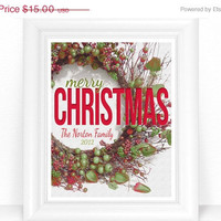 Cyber Monday SALE 20% Off  - Christmas Prints / Sign / Personalized Merry Christmas Rustic Wreath - Gifts - Red Green Holiday Decor 8x10