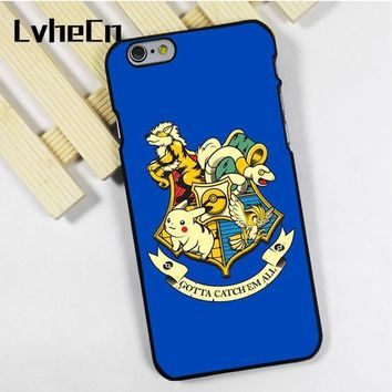 LvheCn phone case cover for iPhone 4 4s 5 5s 5c SE 6 6s 7 8 plus X ipod touch 4 5 6 s Harry Potter Hogwarts Crest FunnyKawaii Pokemon go  AT_89_9