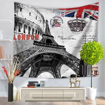 153*130cm Paris Vintage Eiffel Tower Decorative Wall Tapestry 3D Printed Room Dorm Tapestry ll hanging beach carpet Home Decor