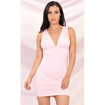 Play The Game Pink Sleeveless Plunge V Neck Low Back Ruched Bodycon Mini Dress