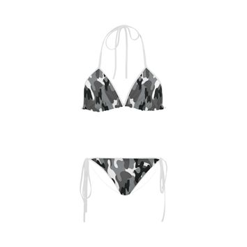 Camo Black White Dreamer White Straps Bikini Swimsuit