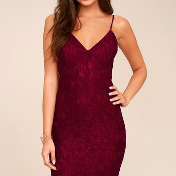 Extraordinary Love Burgundy Lace Midi Dress